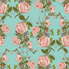 flower wrapping paper vintage nostalgic beautiful roses bunches composition