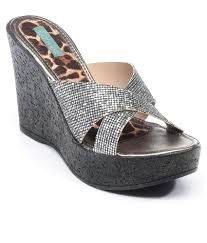 get now catwalk silver wedges heeled slip on at cheap price