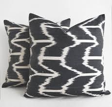 gray ivory ikat silk pillow designer ikat pillow ikat throw pillow
