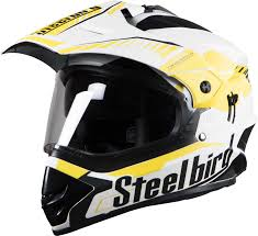 motocross helmets in india sb 42 airborne glossy white with yellow p cap