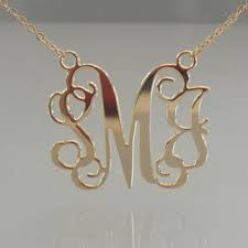 Gold Plated Monogram Necklace Round Name Necklace Circle Couple 2 Names From Namethenecklace On