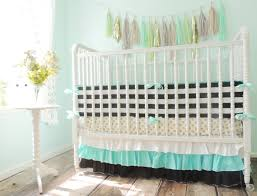 aqua black white and gold crib bedding with metallic gold