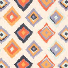 Geometric Drapery Fabric Orange Navy Blue Embroidered Geometric Linen Upholstery Fabric