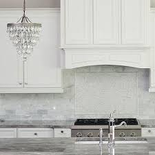 Clarissa Glass Drop Chandelier White And Gray Mosaic Marble Cooktop Tiles Design Ideas