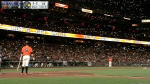 yankee stadium home run lights watch the giants stage a four run rally under a brilliant cellphone