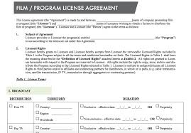 licensing agreement template free standard film license agreement nimia