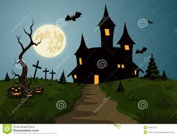 halloween free vector background scary halloween background scene with castle and moon stock vector
