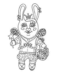 outline drawing cute rabbit fairy princess crown