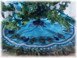 themed tree skirts peacock feather christmas tree skirt wall hanging or tablecover