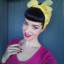 Pinup Clip In Ponytail With Bangs | clip in bettie bangs miss victory violet