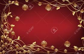 Gold Flowers Vector Frame With Gold Flowers On Dark Red Background Royalty Free