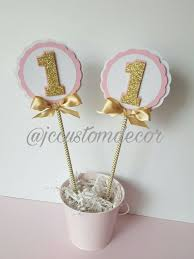 gold centerpieces one birthday girl centerpieces pink gold one centerpieces pink