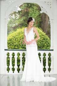 plunging v front and very low back scalloped lace mermaid wedding