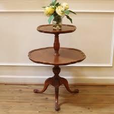 pie crust end table vintage mersman mahogany 2 tier pie crust edge end table antique
