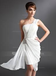 sheath column one shoulder asymmetrical chiffon cocktail dress