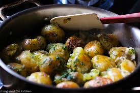 pan roasted potatoes with garlic and dill and the kitchen