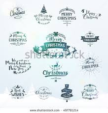 New Year Greetings Decoration by Merry Christmas Lettering Typography Text Design Stock Vector