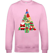 christmas tree sweater with lights christmas tree made of bells stocking santa unisex light pink