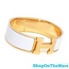 hermes bracelet white images Hermes 18k gold plated clic clac h bracelet white enamel jpg