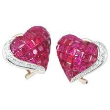 ruby stud earrings ruby diamond gold heart stud earrings for sale at 1stdibs