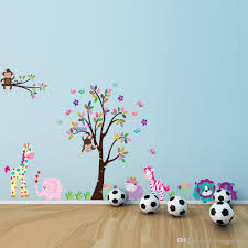 cartoon animals wall sticker with giraffe monkey lion owl pattern see larger image