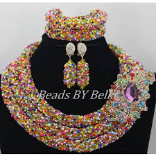 indian beads necklace images Multicolor crystal beads necklace new nigerian wedding african jpg