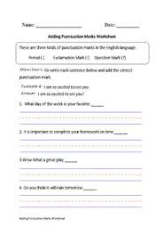 question or statement worksheets punctuation and first grade
