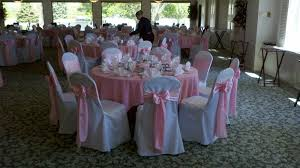 white covers light pink satin sashes a touch of class