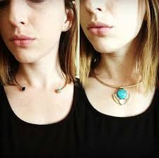 choker metal necklace images Wholesale statement turquoise gem pendant metal choker necklace jpg
