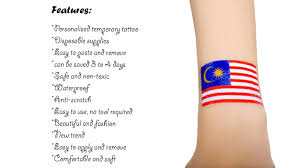10pcs waterproof flag of malaysia tattoo temporary tattoo