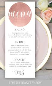 Wedpics Invite Cards Rose Gold Wedding Menu Card Printable Personalized Wedding Menu