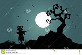 silhouette of halloween scarecrow bat tree stock vector image