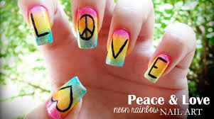 peace u0026 love neon rainbow nail art youtube