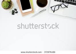 Office Desk Table White Office Desk Table Things On Stock Photo 372976486 Shutterstock