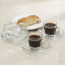 pasabahce barista glass espresso cup u0026 saucer set of 4 clear