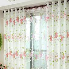 Pink Flower Curtains White Curtains With Pink Flower Patterns And Green Leafs For Girls
