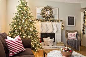 christmas living room scene white table lamp blue christmas tree