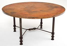 hammered copper dining table rustic copper table round forged metal custom sizes