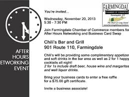 farmingdale chamber free after hours networking event at chili s