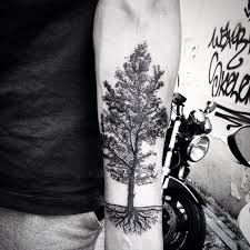 collection of 25 black and white tree tattoos on legs