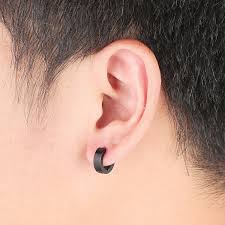 mens ear piercings chic 1pair cool men s stainless steel hoop piercing