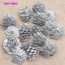 1lot 18pc wooden silver pine cone christmas decorations christmas