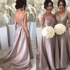 silver bridesmaid dresses a line v neck sweep pleated silver taffeta bridesmaid dress