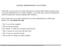 awesome collection of sample cover letter for system administrator