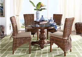 5 pc round pedestal dining table picture of cindy crawford home key west tobacco 5 pc round dining