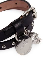 leather bracelet with skull charm images Lyst alexander mcqueen double wrap skull charm stud leather jpeg