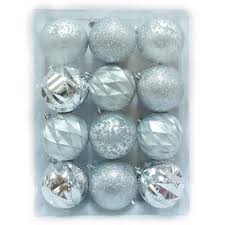 home accents holiday 80 mm shatterproof ornament in silver 12