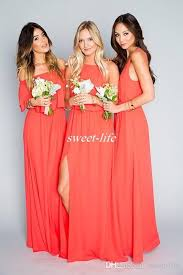cheap beach wedding bridesmaid dresses coral orange chiffon floor