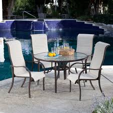 Sling Patio Dining Set - 5 piece patio furniture dining set with round table and 4 padded