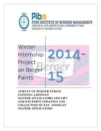 project report on berger paints